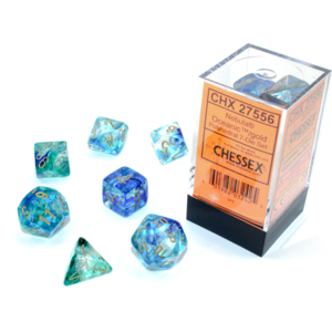 Chessex Nebula Oceanic/Gold Luminary 7-Die Set