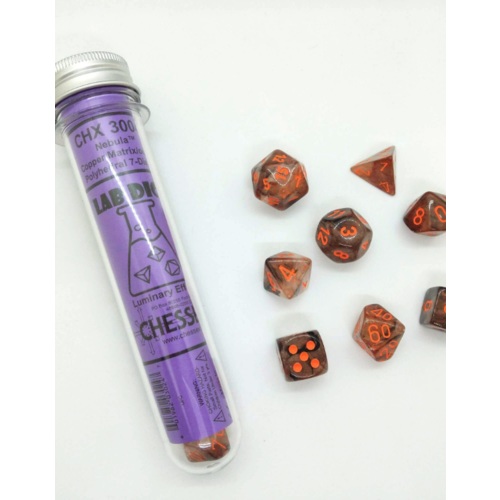 Chessex Lab Dice- Nebula Copper Matrix Polyhedral 8-die Set