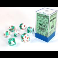 Gemini Mint Green-White/Orange Polyhydral Dice Set