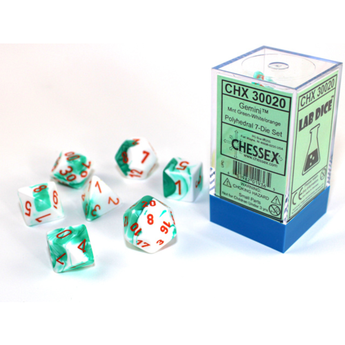 Chessex Gemini Mint Green-White/Orange Polyhydral Dice Set