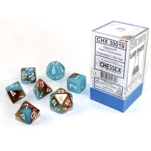 Chessex Gemini Copper/Turquoise Polyhydral Dice Set