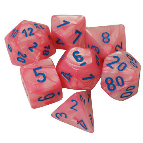 Chessex Lustrous Pink/Blue Polyhydral Set