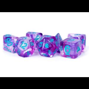 Metallic Dice Unicorn Resin Polyhedral Dice Set Violet