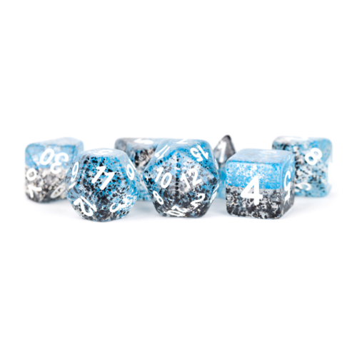 Metallic Dice Particle Dice Blue/Black Polyhydral Set