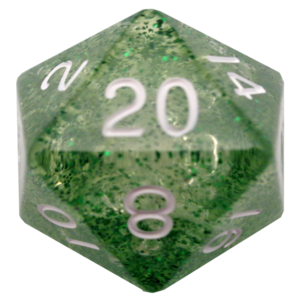 Metallic Dice Mega d20 35mm Ethereal Green/White