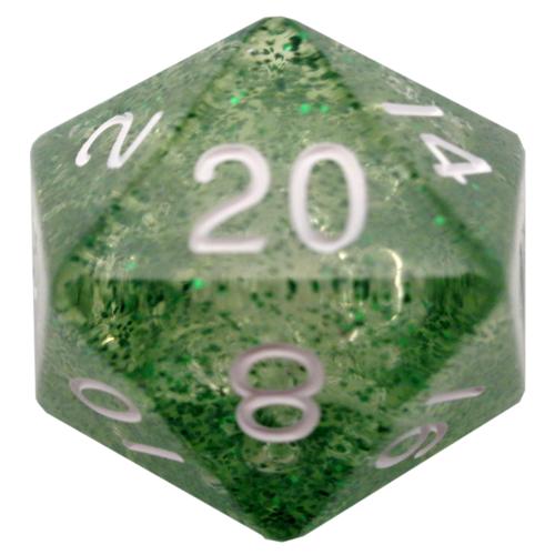 Metallic Dice Mega d20 35mm Ethereal Green/White