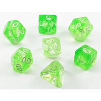Diffusion Slime Green/White Polyhedral Dice Set