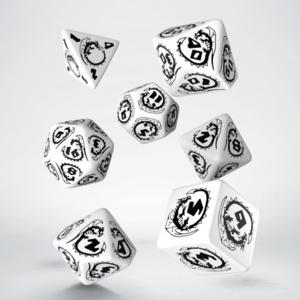 Q-Workshop Black & White Dragons Dice Set of 7