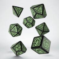 Celtic 3D Revised Black & Green Dice Set