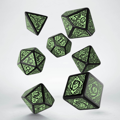 - Celtic 3D Revised Black & Green Dice Set