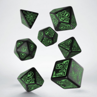 Call of Cthulhu- Black & Green Dice set (7)