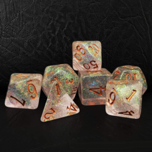 Awesome Dice Shimmery Bronze Golden Polyhedral 7-dice Set