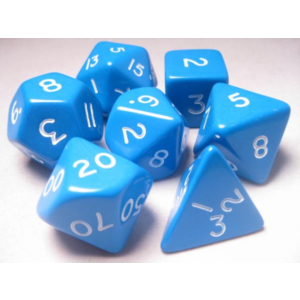 Koplow Jumbo Polyhydral 7 piece dice set- opaque- blue/white