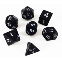 Jumbo Polyhydral 7 piece dice set- opaque- white/black