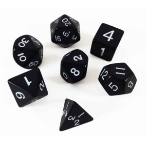 Koplow Jumbo Polyhydral 7 piece dice set- opaque- white/black