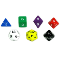 Jumbo Polyhydral 7 pieces dice set - opaque- assorti colors