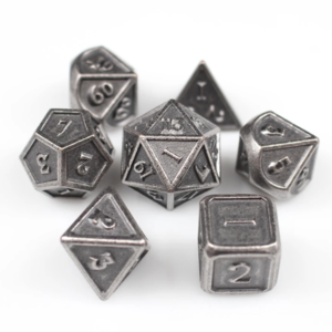Awesome Dice Metal Matt Silver Polyhedral 7-dice Set