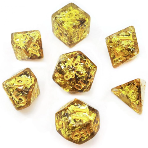 Awesome Dice Magical Stone Gold Ore Polyhedral 7-dice Set