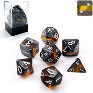 Awesome Dice Mineral Amber Polyhedral 7-dice Set