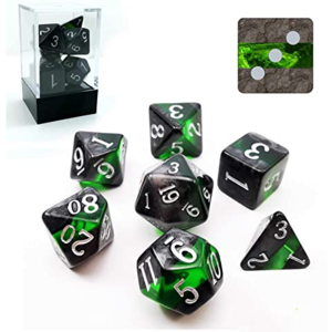 Awesome Dice Mineral Emerald Polyhedral 7-dice Set