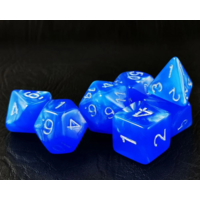 Moon Stone Dodgerblue Polyhedral 7-dice Set