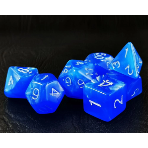 Awesome Dice Moon Stone Dodgerblue Polyhedral 7-dice Set