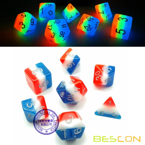Awesome Dice Glow in the Dark French Kiss Polyhedral 7-dice Set