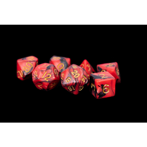 Metallic Dice 16mm Acrylic Dice Set Red/Black with Gold
