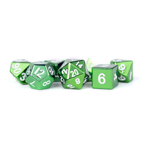 - Metallic Polyhydral Dice Set- Green 16mm