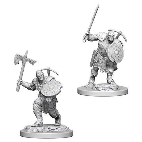 Wizk!ds Unpainted Miniatures- Earth Genasi Male Fighter (5E)
