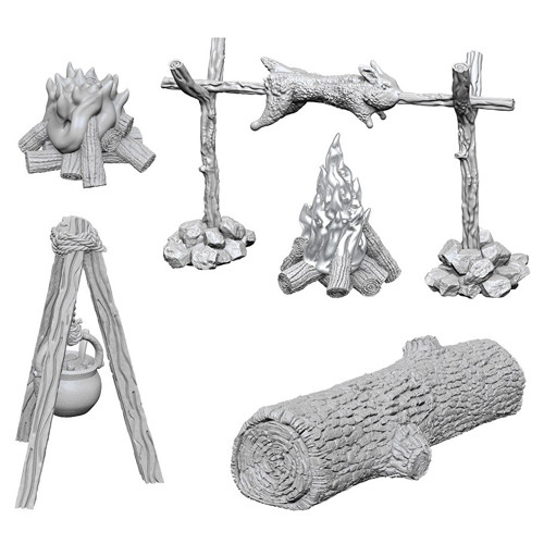 Wizk!ds Unpainted Miniatures- Campfire and Sitting Log