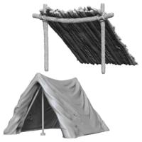 Unpainted Miniatures- Tent & Lean-To