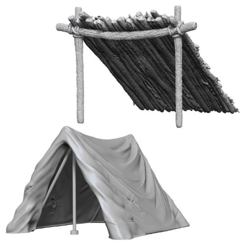 Wizk!ds Unpainted Miniatures- Tent & Lean-To