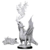 Unpainted Miniatures- Gold Dragon Wyrmling & Treasure Pile (5E)