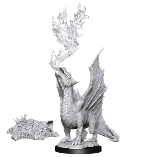 Wizk!ds Unpainted Miniatures- Gold Dragon Wyrmling & Treasure Pile (5E)