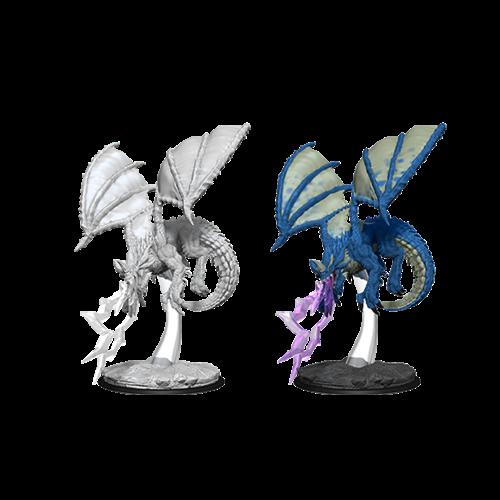 Wizk!ds Unpainted Miniatures- Young Blue Dragon
