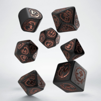 Dragons Modern 7-Die Set - Black and Copper