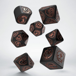 Q-Workshop Dragons Modern 7-Die Set - Black and Copper