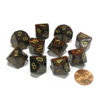 Scarab Blue Blood/gold set of Ten D10's