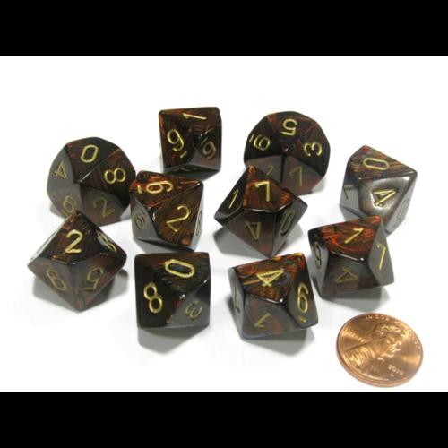 Chessex Scarab Blue Blood/gold set of Ten D10's