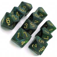 Scarab Jade/gold set of Ten D10's