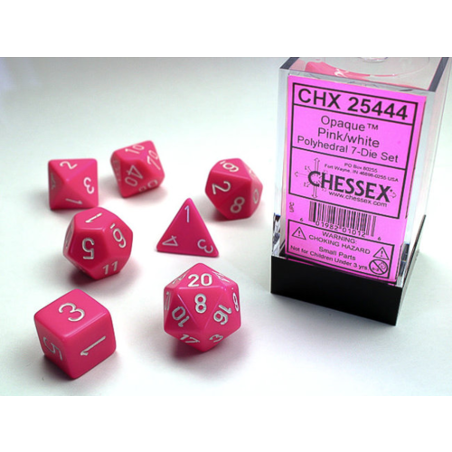 Chessex Opaque Poly Pink/white 7-Die set