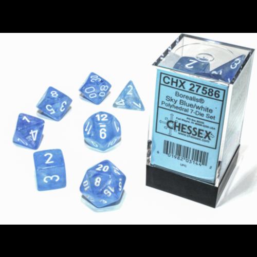 Chessex Borealis Poly set Sky Blue/white Luminary