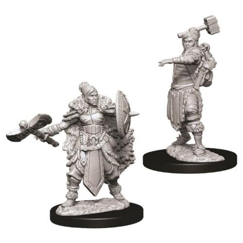 Wizk!ds Unpainted Miniatures- Half-Orc Female Barbarian (5E)