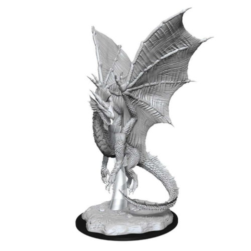 Wizk!ds Unpainted Miniatures - Young Silver Dragon