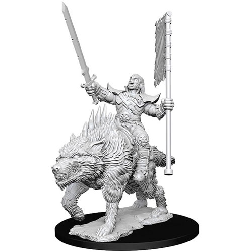 Wizk!ds Unpainted Miniatures- Orc on Dire Wolf