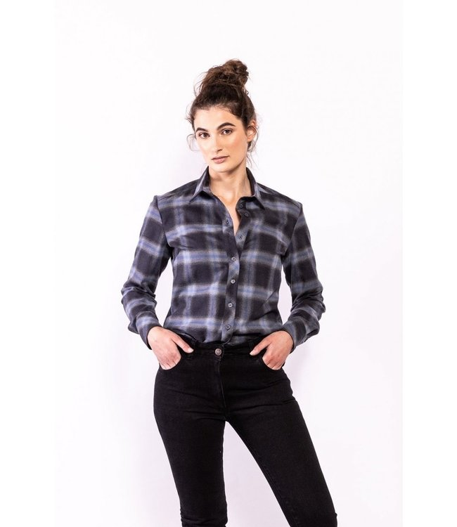 Elements of Freedom Blouse Rene checked grey/blue