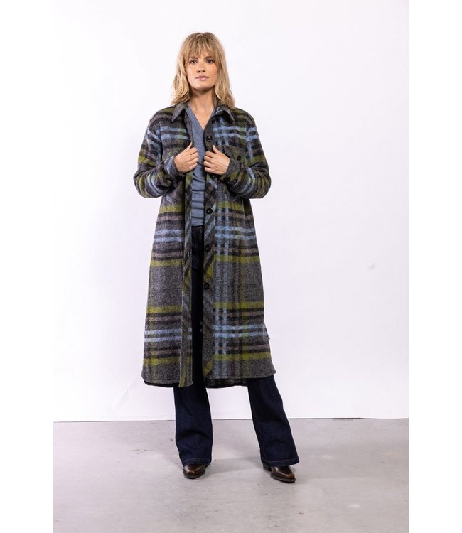 Elements of Freedom Coat Porto Checked Blue and green
