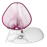 Acapulco Lounge Chair White/Wine Red