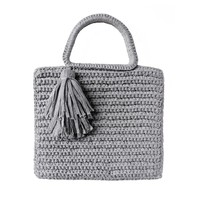 Shimmer Tassel Tote Light Grey